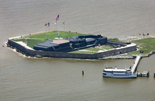 Fort Sumter's dominant U.S. flag will remain, but four historical flags have been taken down.