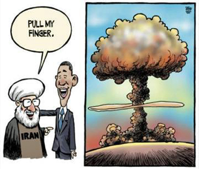 Rouhani Obama Pull Finger Iran Nuke Deal Cartoon